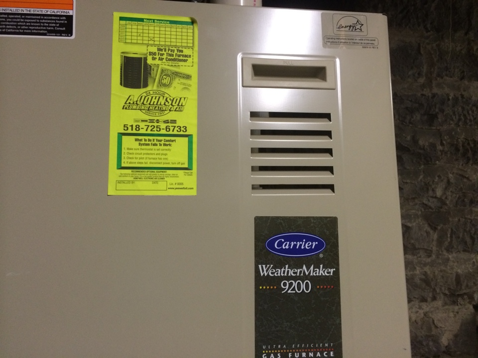 Canajoharie, NY - Preventive maintenance on a Carrier gas furnace