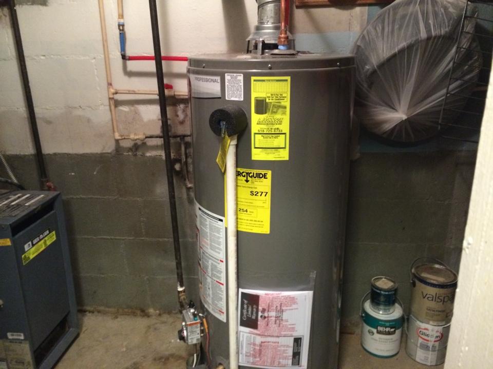 Fonda, NY - Installation of a Rheem 40 gallon natural gas hot water heater