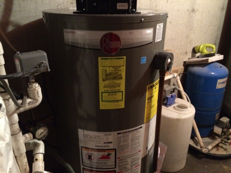 Waterford, NY - Installation of a Rheem 40 gallon LP direct vent hot water heater