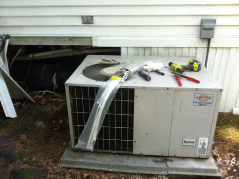 Malta, NY - Fix flex duct run n install service valve on miller a/c system