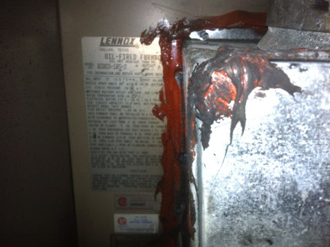 Middle Grove, NY - No heat call found Lennox oil furnace with cracked heat exchanger