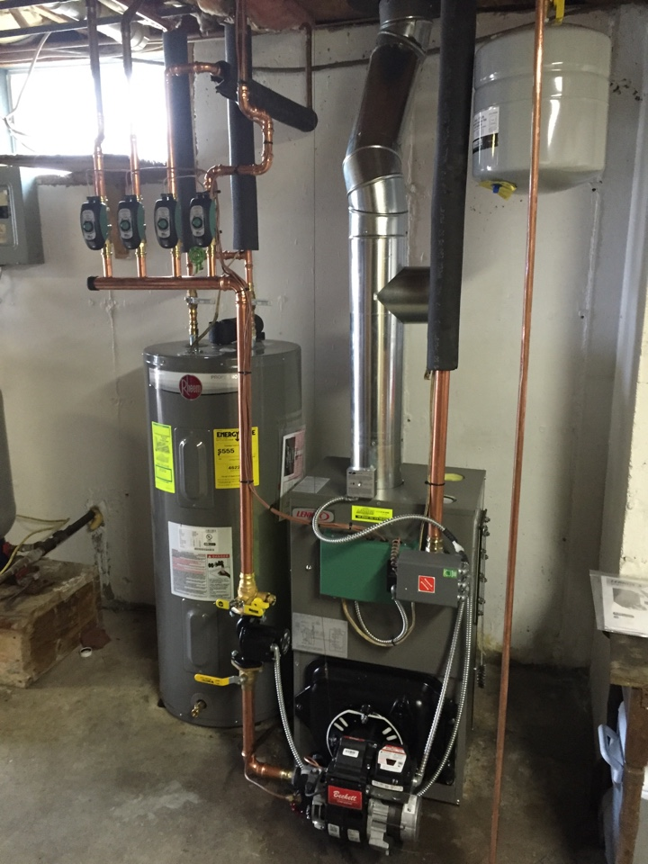Duanesburg, NY - Replaced existing oil boiler and electric hot water heater with new Lennox 84% efficient oil boiler and Rheem electric hot water heater.