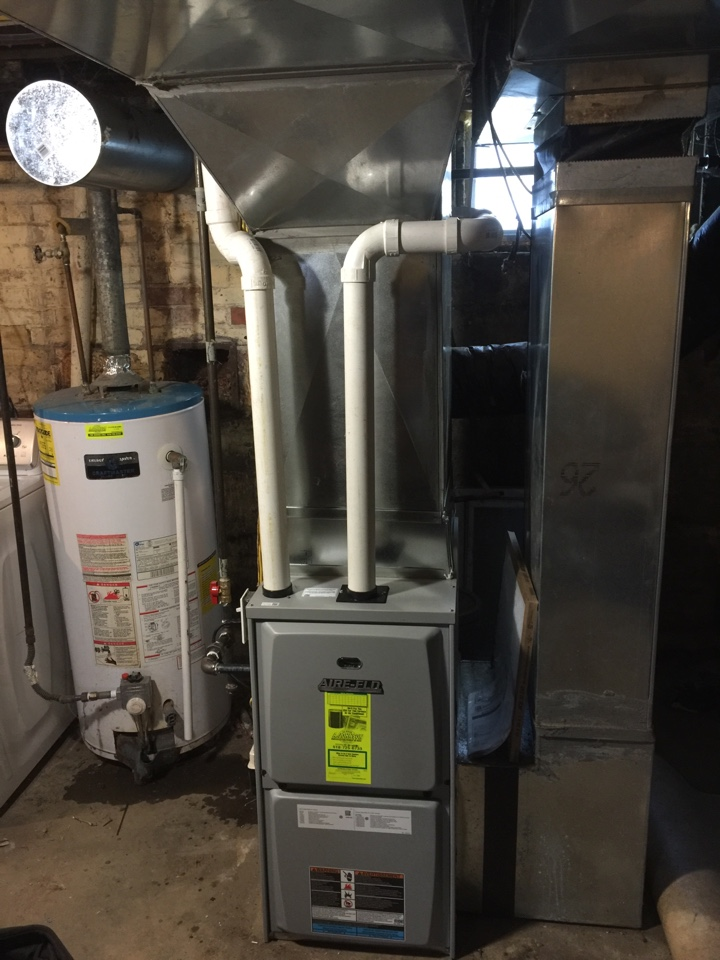 Johnstown, NY - Replacement of Goodman gas furnace with new Lennox  aire flo 95% high efficiency gas furnace.