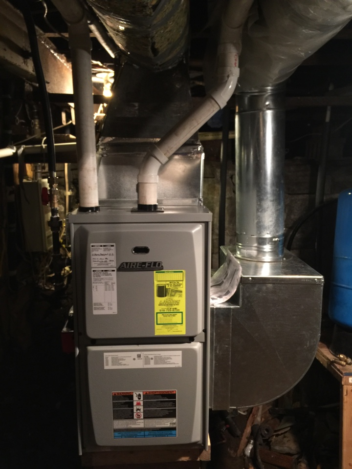 Corinth, NY - carrier Air handler Replacement. Replaced existing air handler with new aire flo 95% efficient propane furnace.