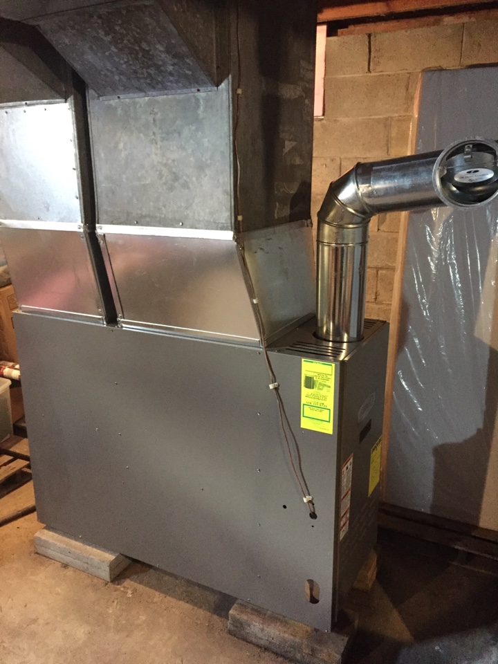Amsterdam, NY - Oil furnace replacement. Replaced existing oil hot air furnace with new Lennox 83% efficient oil furnace.