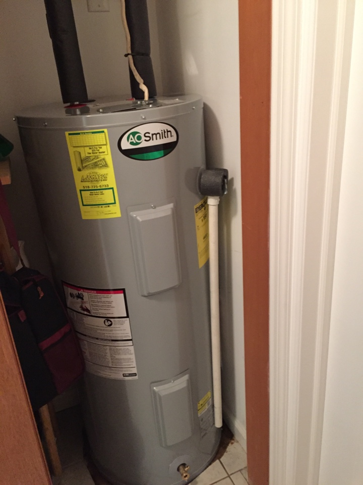 Amsterdam, NY - Replaced existing 40 gallon electric hot water heater with a new AO Smith 40 gallon electric hot water heater