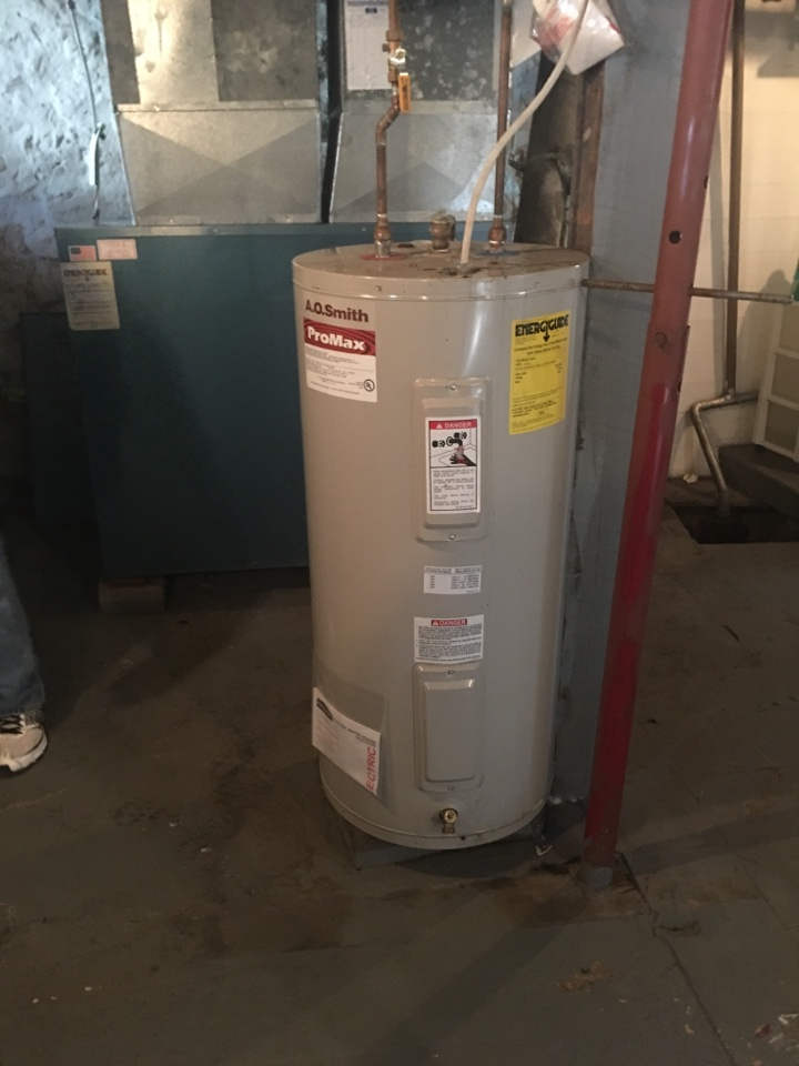 Clifton Park, NY - Plumbing repair to hot water tank A.O. Smith. And repaired train furnace gas with Trane central air-conditioning