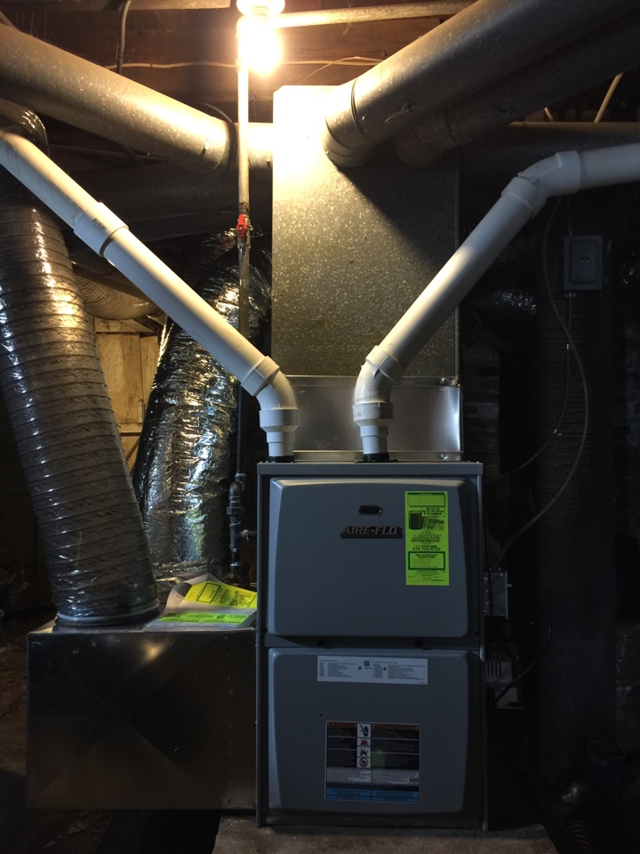 Fonda, NY - Replaced existing gas furnace, With new Aire-Flo 95% efficient high efficiency gas furnace.