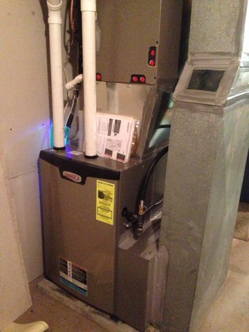Waterford, NY - Installation of new Slp 98% high effifency Lennox furnace and healthy climate air purifier.