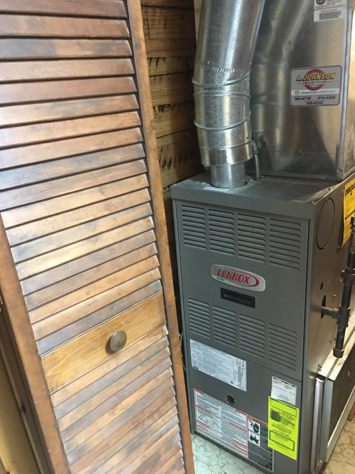 Piseco, NY - Furnace repair on a Lenix gas hot air furnace and Lennox air-conditioning. Installed new Honeywell Wi-Fi thermostat