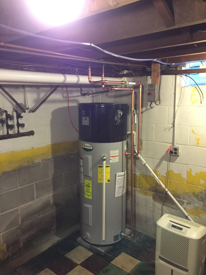 Northville, NY - Replaced existing electric hot water tank with new AO Smith 40 gallon heat pump hot water heater.