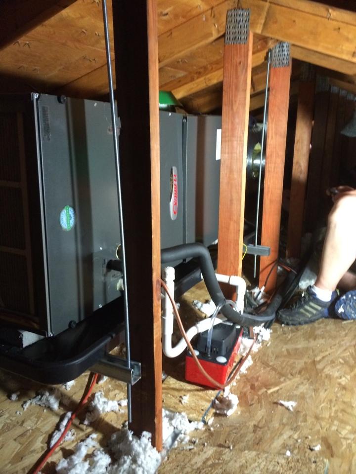Sharon Springs, NY - Installing Lennox air handler in attic