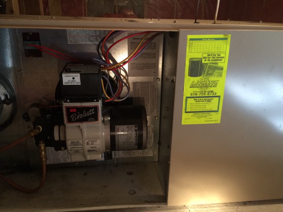 Middle Grove, NY - Preventive maintenance on an oil fired Ducane furnace