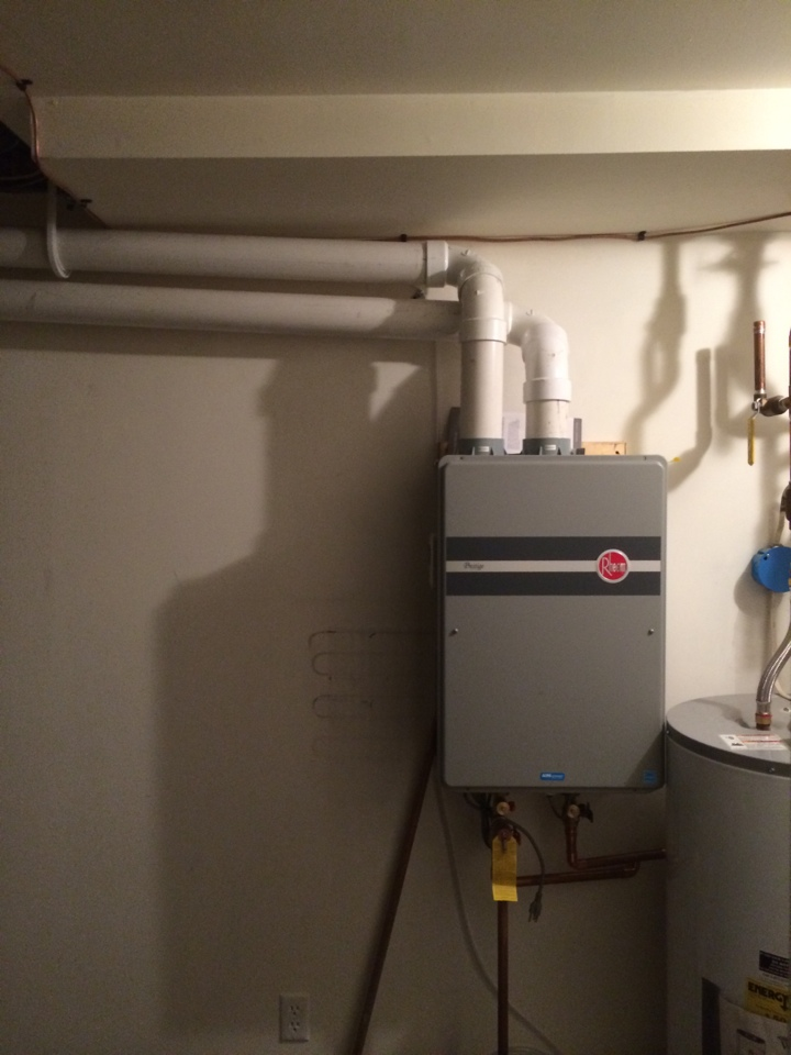 Queensbury, NY - Replaced existing electric hot water heater with new Rheem high efficiency on demand hot water heater