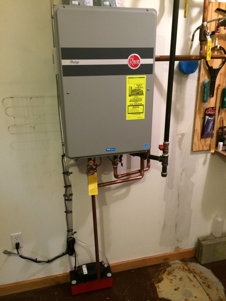 Queensbury, NY - Replaced existing electric hot water tank with new Rheem on demand propane hot water heater.