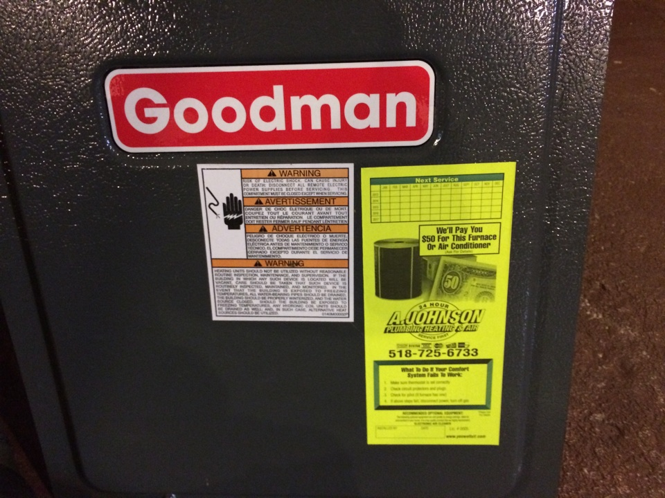 South Glens Falls, NY - Preventive maintenance on a Goodman gas furnace