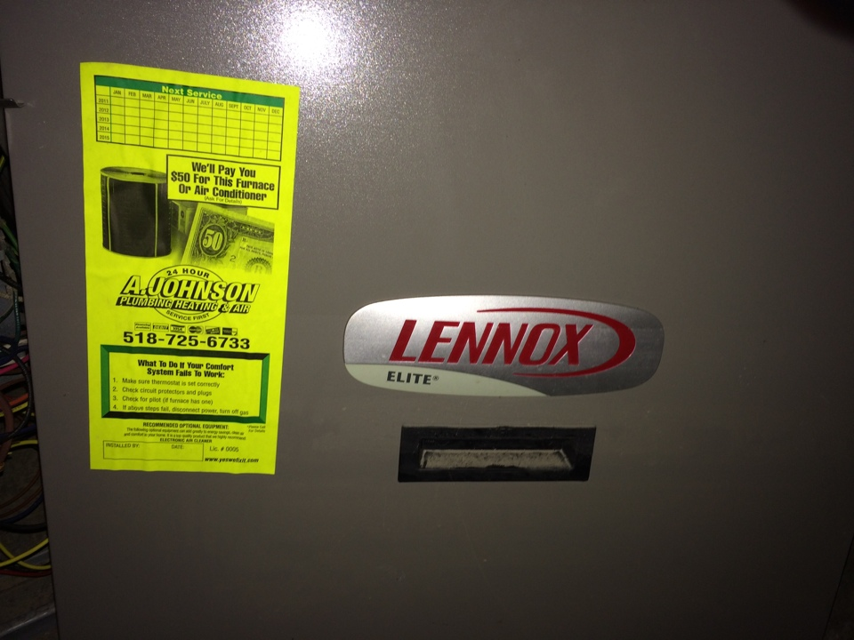 Fultonville, NY - Preventive maintenance on a Lennox gas furnace