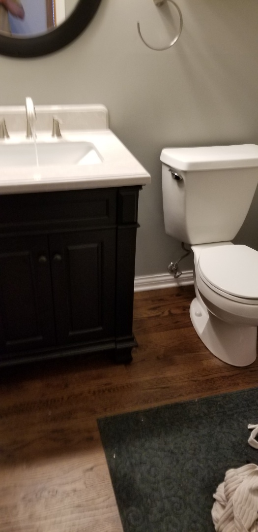 Installing vanity and toilet after new floor install in Eden Prairie