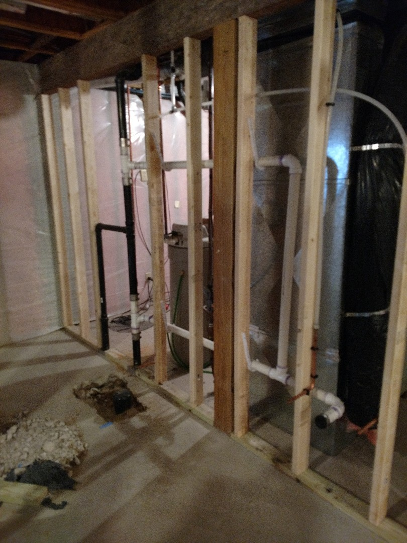 Vadnais Heights, MN - Basement bathroom rough in.