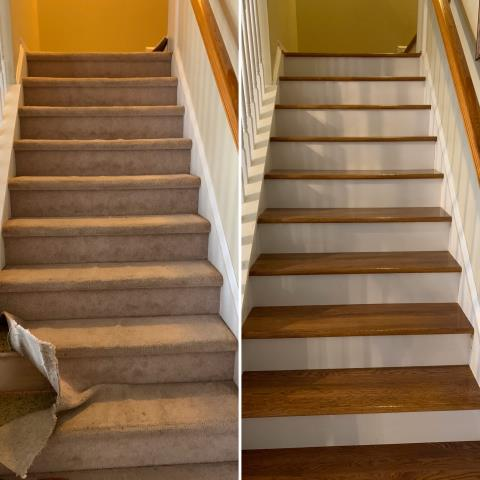 """Before and After"" of a staircase that got new life going from carpet to hardwood! Completed this job this week for an awesome family in Charlotte, NC!"