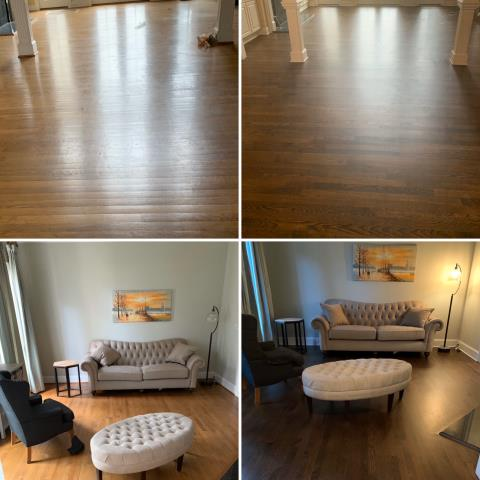Some before and afters of a beautiful sand & refinish job for a wonderful family in the Cotswold/SouthPark area!
