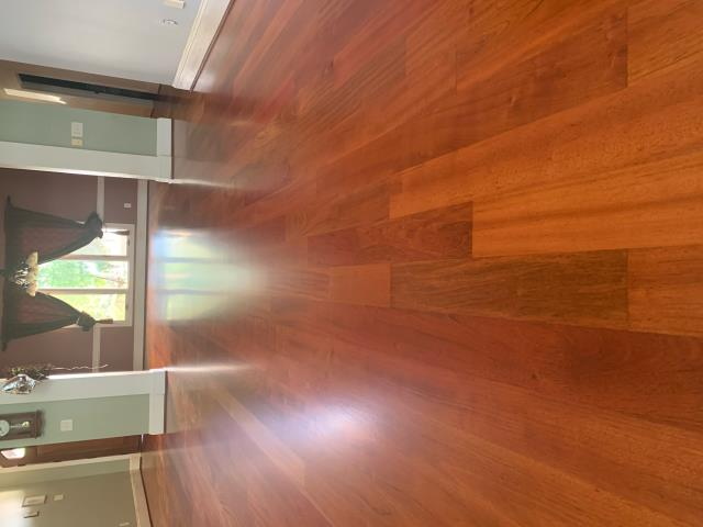 Cornelius, NC - Beautiful Brazilian Cherry Hardwood Flooring Sand and Refinish for a wonderful family in Cornelius, NC!