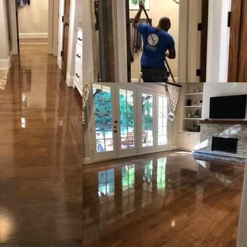 Charlotte, NC - A classic gray/special walnut refinished and stained hardwood floor for a beautiful family in the Wendover/Sedgewood area!