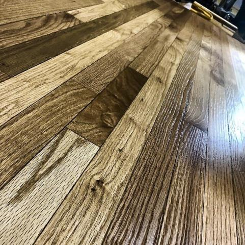 Indian Trail, NC - Wire brushed red oak with Bona natural oil neutral color. #Bonatraining #hardwood #naturaloil