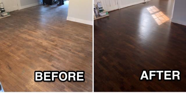 Gastonia, NC - Before and after of a hardwood sand and refinish in Gastonia, NC