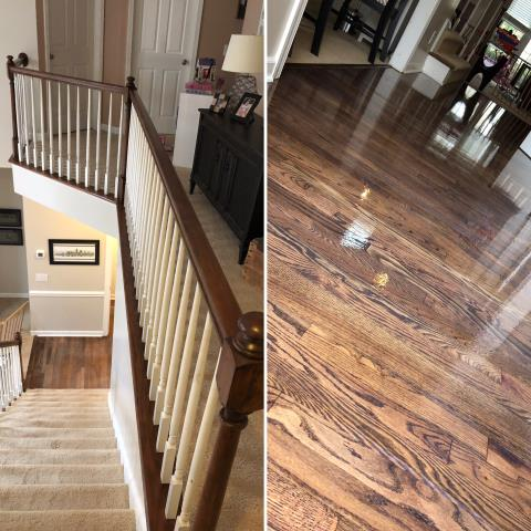 Charlotte, NC - Beautiful sand and refinish of hardwood flooring and railings for an awesome family in the Ardrey Kell area of Charlotte, NC!