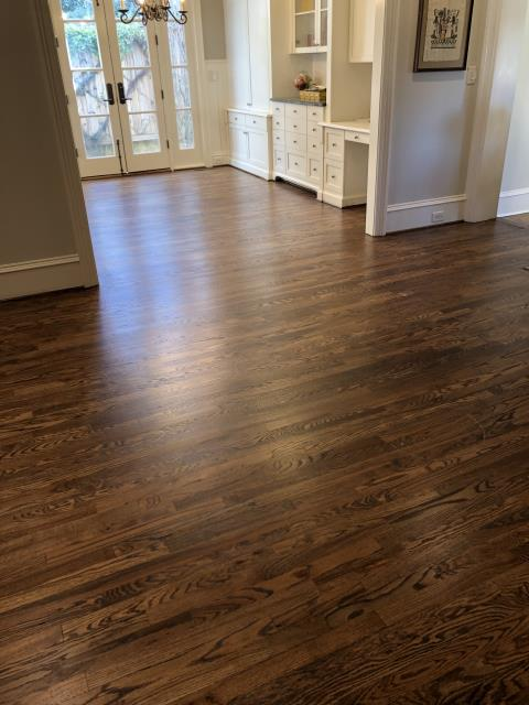 Charlotte, NC - Beautiful hardwood floor sand and refinish using the new Bona Mega One commercial grade green water-base finish in the Myers Park area of Charlotte, NC!