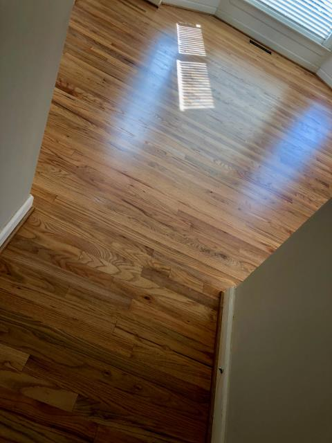 Charlotte, NC - Lovely natural hardwood flooring sand and refinish complete in South Charlotte!