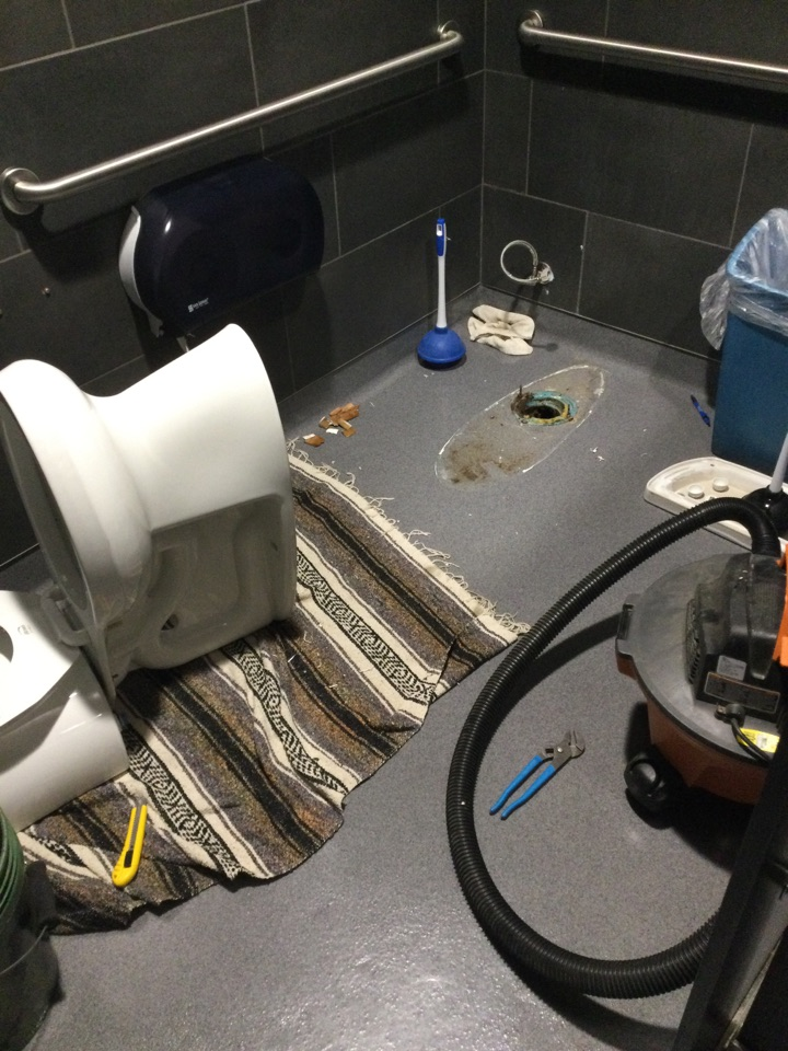 Cleared plugged toilet.