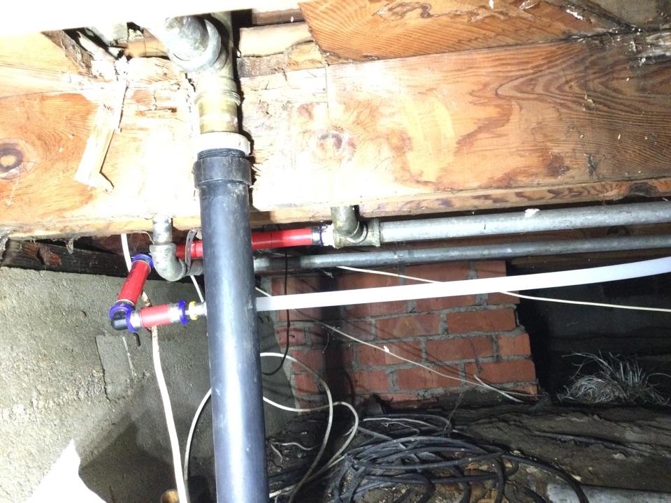 Repaired leak in a crawlspace