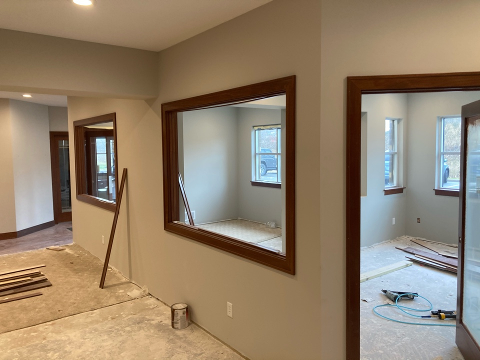 Oakdale, MN - Trim work being installed at an office remodel