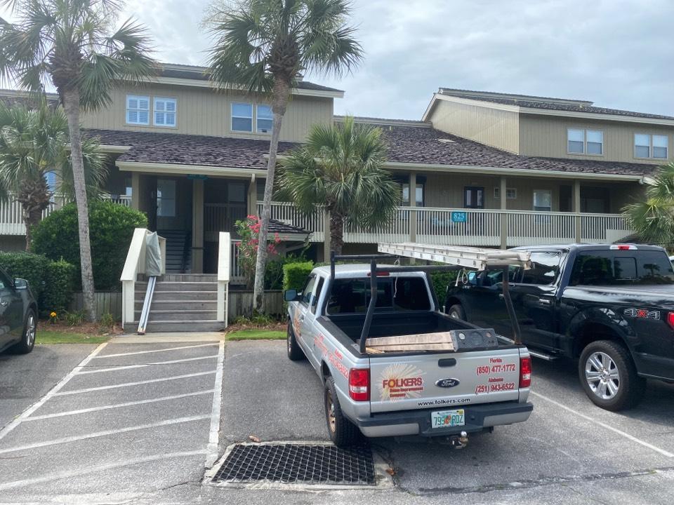 Miramar Beach, FL - Measuring for impact replacement shwinco windows and thermatru replacement entry doors in Miramar beach Florida
