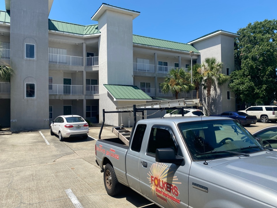 Destin, FL - Measuring for impact folkers accordian hurricane shutters in Destin Florida