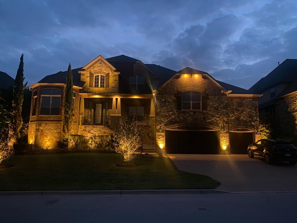 Beautiful Steiner Ranch Home, lit using Kichler Low Voltage Lighting Sustem