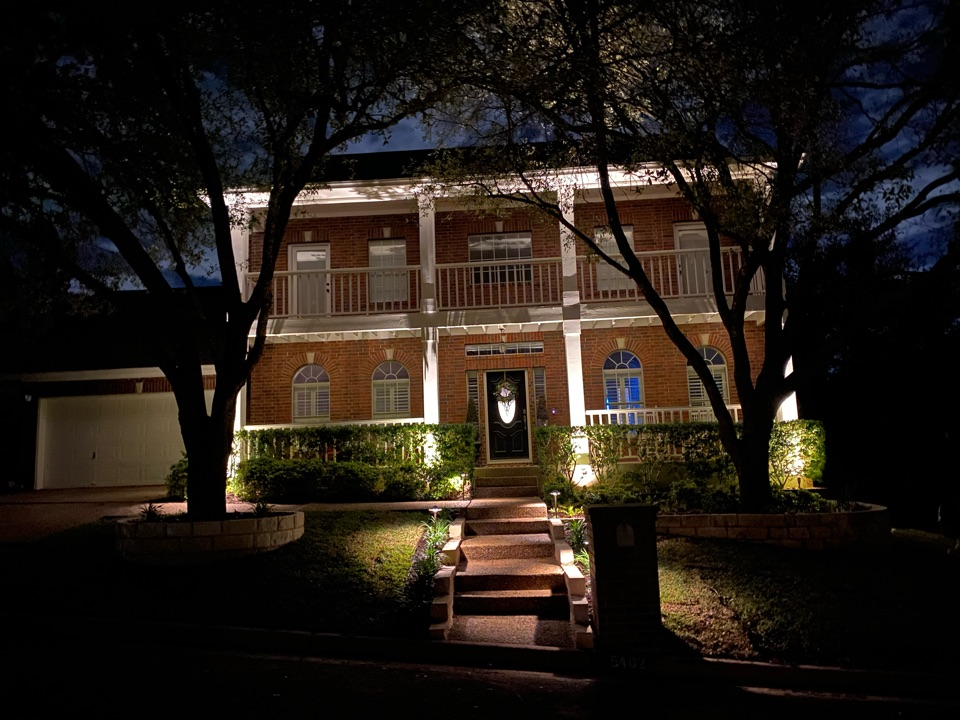 Austin, TX -  Beautifully lit home using Kichler LED low voltage lighting system