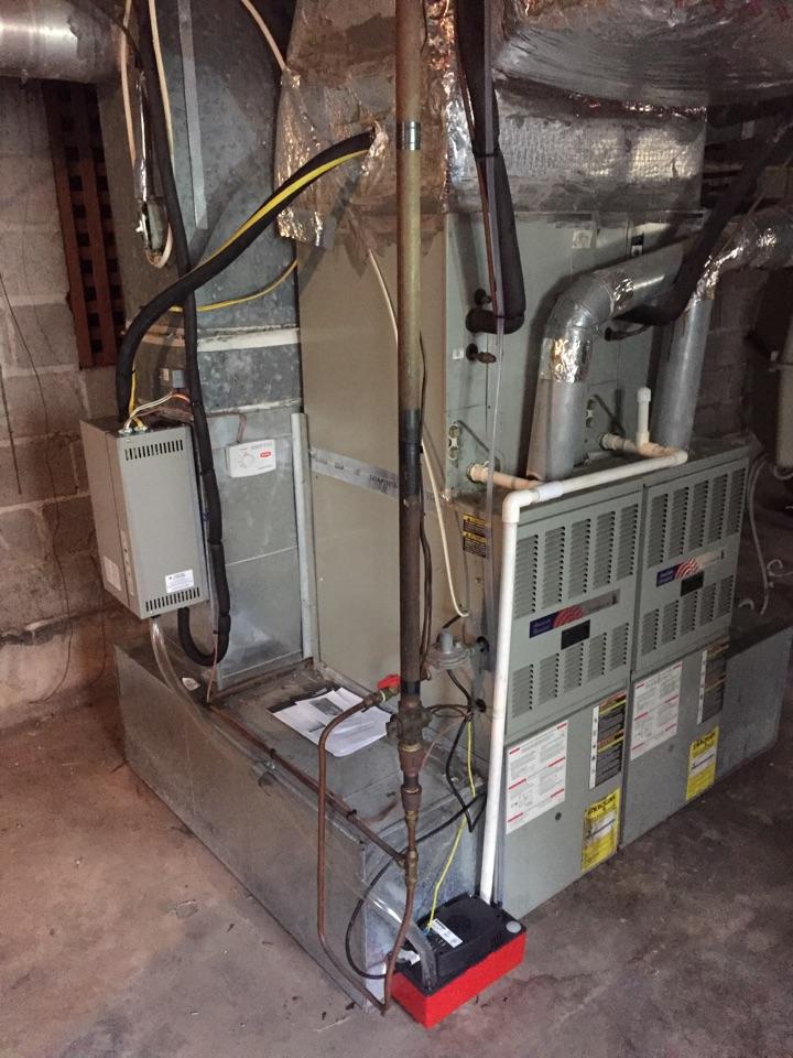 Mountain Brook, AL - Installing Steam Humidifier on twinned furnace system.