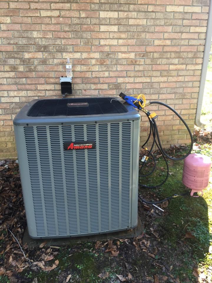 Gardendale, AL - Repairing leak in refrigerant line, performed cooling maintenance on heat pump system.