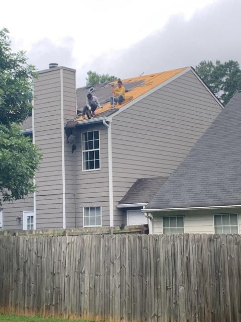 Atlanta, GA - Replacing this roof today. We always remove all the shingles on the roof so we can check the decking and replace it where it is needed.