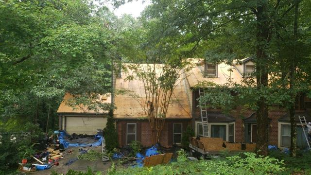Roswell, GA - This is today's job, we always strip a roof down to the wood so we can see what wood needs replacing.  We never roof over the top, it is not good practice or recommended by the manufacturer!