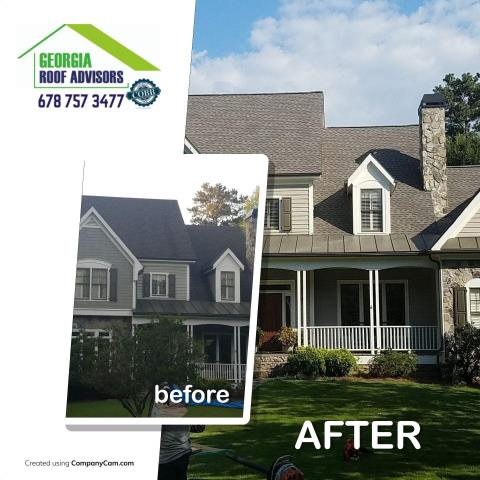 Roswell, GA - I love a before and after photo! This homeowner was delighted with their roof replacement! Give us a call if you want to take advantage of our 10 year labor warranty!!