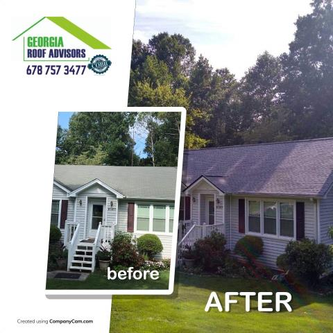 Acworth, GA - This roof was complete yesterday. We removed the existing shingles, checked the existing wood underneath and replaced with an upgraded architectural shingle. Looks great!  Increase curb appeal for this homeowner!