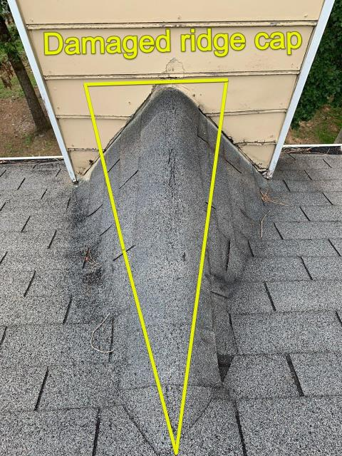Roswell, GA - A few problems with this roof. This cracked ridge cap is common with roofs of this age. It is wear and tear and needs replacing. If you want an honest opinion, options of what is best to do. give us a call 678 757 3477