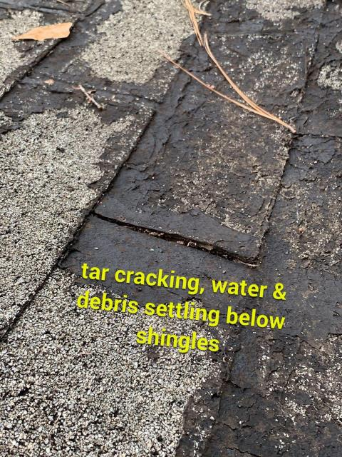 Marietta, GA - Some roofers use tar as a short term fix, in the Georgia heat is heats up and melts down the roof. An insurance company will not approve a roof with tar all over it! Think before you pour tar on your roof!