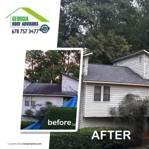 Acworth, GA - This homeowner had a 3 tab old roof that needed replacing, we inspected, confirmed there was no storm damage and sold them an upgraded architectural GAF Charcoal Timberline HD !