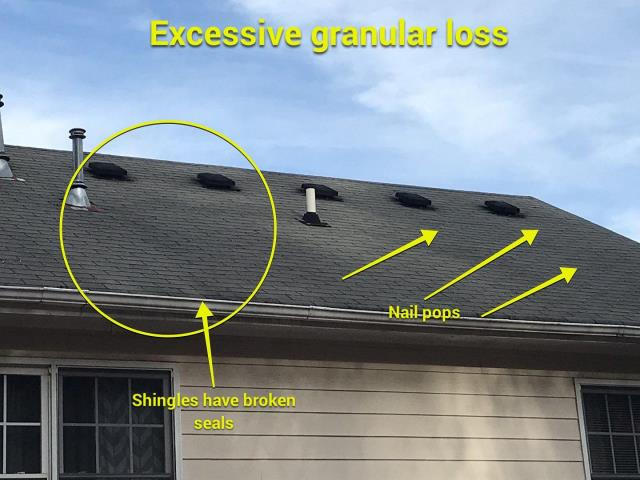 Acworth, GA - This homeowner doesn't currently have leaks, but they can expect to see some in the near future! We recommend a full roof replacement on this home due to the current condition, it would be the best return on investment for this homeowner.