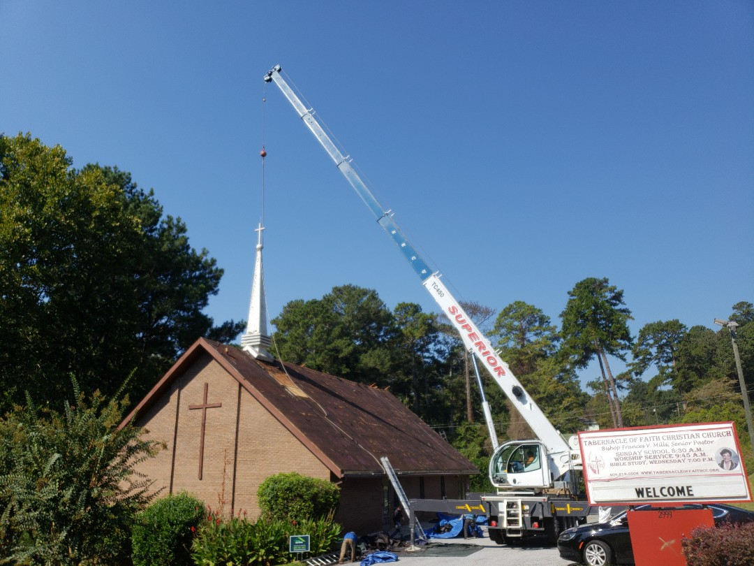 Decatur, GA - Reroofing a church in Decatur! Removing the steeple